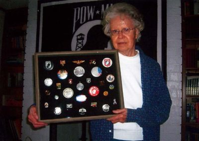 2010 Orange Park FL Mary Hoff Holding Shadow Box of POW/MIA Pins