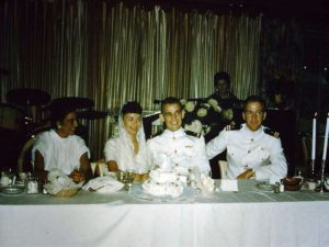 September 12, 1959 Wedding (L-R) Unknown, Mary Hoff, Ens. Mike Hoff, Unknown