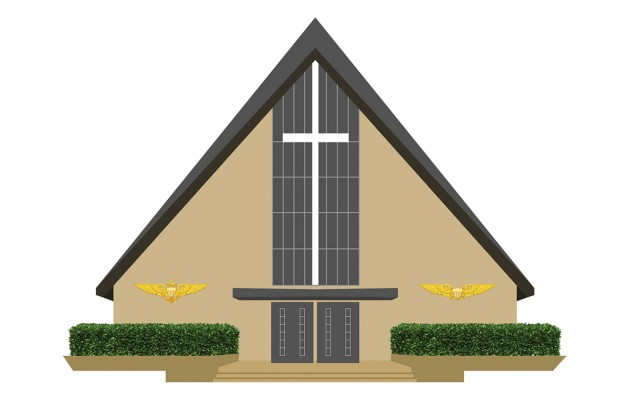 Rendering showing new wings for the Chapel of the High-Speed Pass,